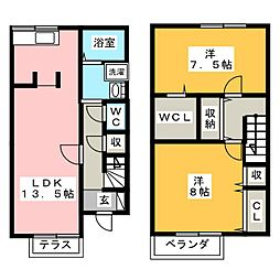 [テラスハウス] 愛知県豊橋市清須町 の賃貸【/】の間取り
