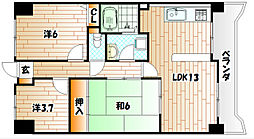 福岡県北九州市八幡東区中央1丁目の賃貸マンションの間取り