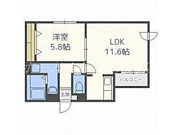 北海道札幌市東区北四十三条東15丁目の賃貸マンションの間取り