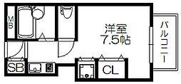 レアル守口 1階ワンルームの間取り
