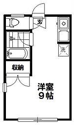 東京都世田谷区奥沢5丁目の賃貸アパートの間取り