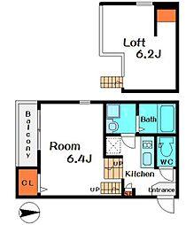 ソレイユ中宮 2階1Kの間取り