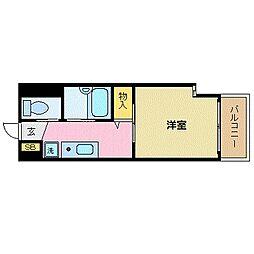 沖縄都市モノレール 赤嶺駅 徒歩9分の賃貸マンション 2階1Kの間取り