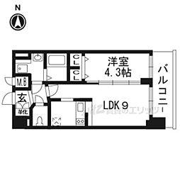 プレサンスTHE KYOTO彩美710 7階1DKの間取り