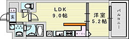 阪急神戸本線 神崎川駅 徒歩10分の賃貸マンション 5階1LDKの間取り