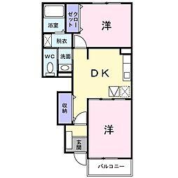 カーサ デュオ B[1階]の間取り