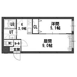 北海道札幌市中央区北十一条西20丁目の賃貸マンションの間取り