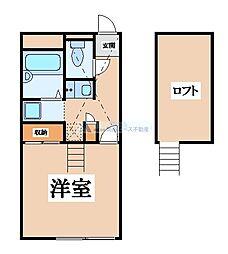 大阪府東大阪市神田町の賃貸アパートの間取り