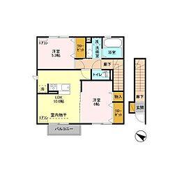 仮)D-roomソシエルみどりのウエストリア[2階]の間取り