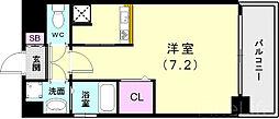 神戸市西神・山手線 新長田駅 徒歩3分の賃貸マンション 5階ワンルームの間取り
