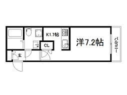 京阪本線 龍谷大前深草駅 徒歩6分の賃貸マンション 1階1Kの間取り