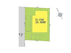 区画図(北西側5m道路)駐車スペース2台分確保できます
