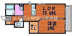 岡山県岡山市中区江並丁目なしの賃貸アパートの間取り