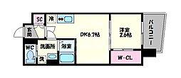 セレニテ谷九プリエ 14階1DKの間取り
