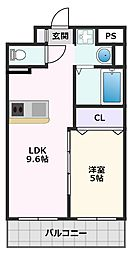 第1関根マンション 8階1LDKの間取り