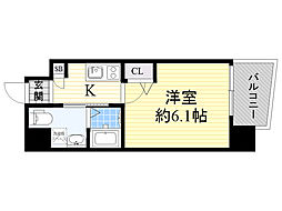 Live Casa 上新庄 9階1Kの間取り