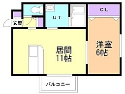 エターナル松川 2階1LDKの間取り