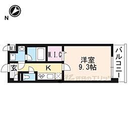 JR東海道・山陽本線 長岡京駅 徒歩7分の賃貸マンション 2階1Kの間取り