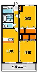 栃木県宇都宮市駒生2丁目の賃貸マンションの間取り