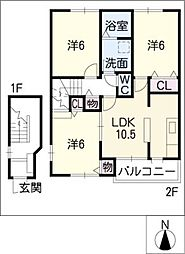 サワタリハイムB[2階]の間取り