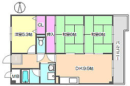 エクセル中央 406[4階]の間取り