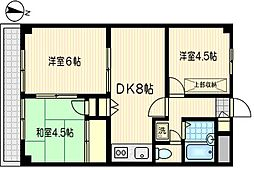 平川レジデンス[404号室]の間取り