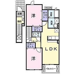 ロイヤルパーク B[2階]の間取り