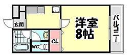 大阪府堺市西区鳳東町7丁の賃貸アパートの間取り