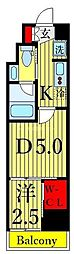 One ROOF Residence Kiba WEST 8階1DKの間取り
