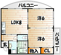 ニシキグレイス浅野[4階]の間取り