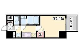 エステムコート神戸グランスタイル 10階1Kの間取り
