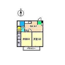 グリーンコーポ吉岡[1階]の間取り