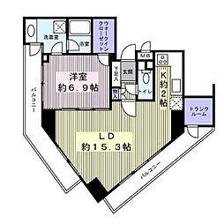 東京都渋谷区広尾3丁目の賃貸マンションの間取り