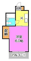 東京都東久留米市金山町1丁目の賃貸マンションの間取り