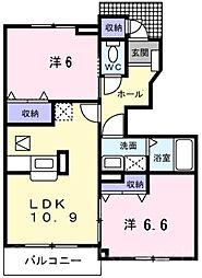 キャンパニュールB棟[1階]の間取り