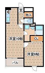 阪神本線 大石駅 徒歩8分の賃貸マンション 2階1LDKの間取り