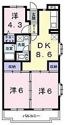 第1かしの木ハイツ[3階]の間取り