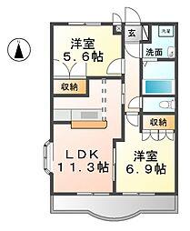 愛知県北名古屋市熊之庄十二社丁目の賃貸アパートの間取り