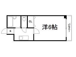 京都府京都市伏見区鑓屋町の賃貸マンションの間取り