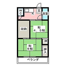うばこ荘 A棟[2階]の間取り
