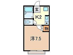 静岡県沼津市新沢田町の賃貸アパートの間取り
