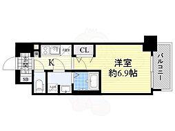 ララプレイス大阪福島ミラ 2階1Kの間取り