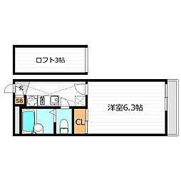 大阪府大阪市阿倍野区文の里2丁目の賃貸アパートの間取り