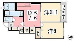 兵庫県姫路市網干区新在家の賃貸アパートの間取り