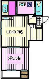 THE HOUSE 与野本町 Noir 3階1Kの間取り