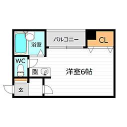 Osaka Metro長堀鶴見緑地線 今福鶴見駅 徒歩1分の賃貸マンション 2階ワンルームの間取り