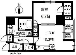オーヴェルク-II 8階1LDKの間取り
