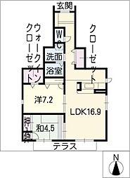 クレストコート中野本町[1階]の間取り