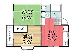 京成本線 京成酒々井駅 バス8分 上本佐倉下車 徒歩8分の賃貸アパート 2階2Kの間取り