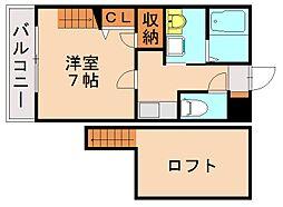 福岡県福岡市城南区西片江1丁目の賃貸アパートの間取り